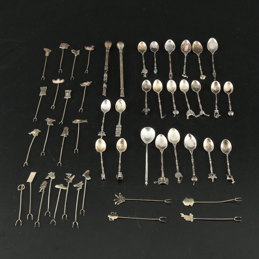 Sterling, 800 Silver, and Silver Alloy Argentinian and Mexican Flatware, Vintage