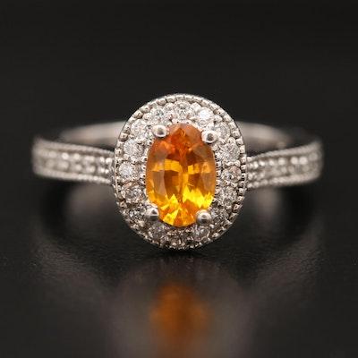 14K Sapphire and Diamond Peek-a-Boo Ring