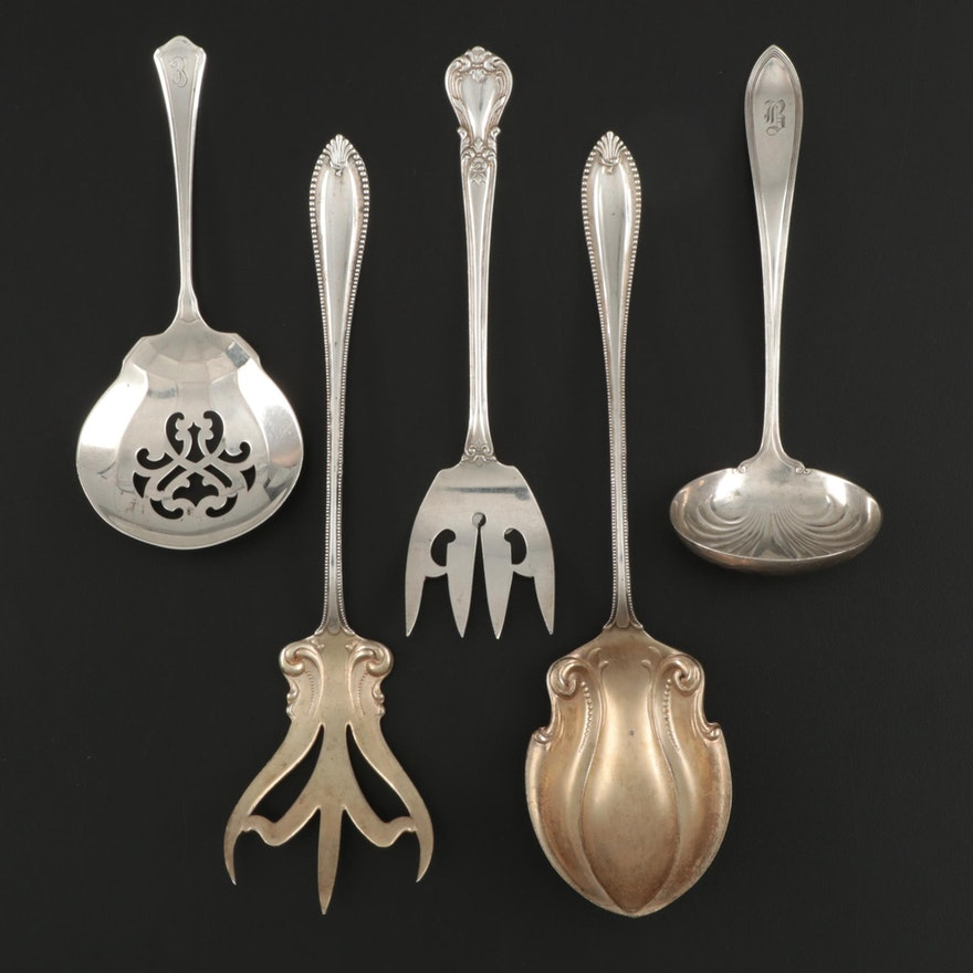 """Towle """"Cordova"""" Salad Serving Set with Other Sterling Silver Serving Utensils"""