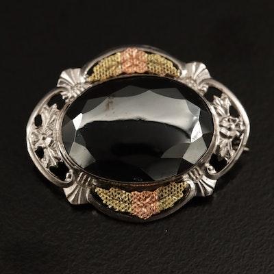 Sterling Silver Hematite Brooch