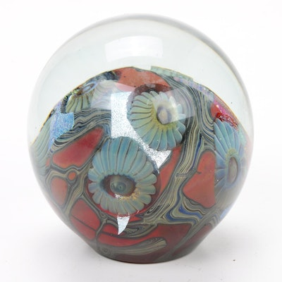 "Robert Eickholt Handblown ""Deep Sea"" Art Glass Paperweight, 2008"