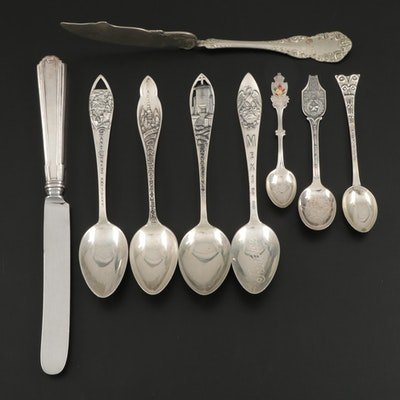 Charles M. Robbins with Other Sterling and Silver Plate Souvenir Spoons and More