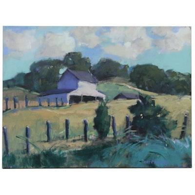 "Greg Osterhaus Oil Painting ""High Barn + Trees"", 2009"