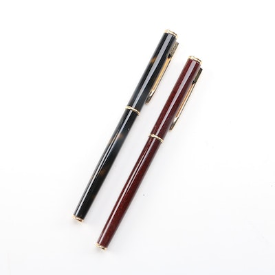 """Waterman """"Ideal"""" 18K Gold Plated 750 Nib Fountain Pens, Late 20th Century"""