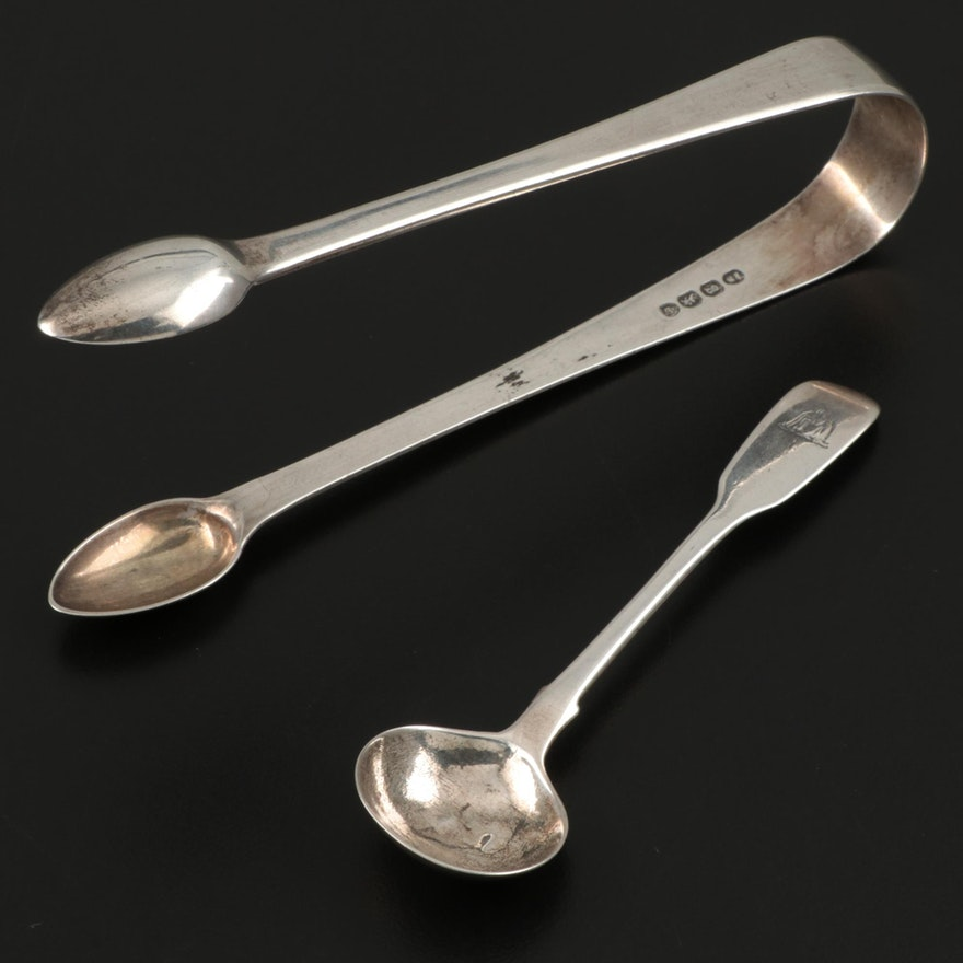 Richard Britton Sterling Silver Sugar Tongs with Other English Master Salt