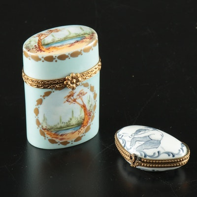 Hand-Painted Porcelain Limoges Boxes, 20th Century