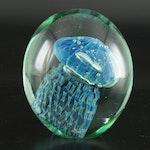 Robert Eickholt Handblown Art Glass Jellyfish Paperweight, 2010