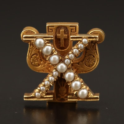"Circa 1930 ""Chi Psi"" 14K Pearl Fraternity Pin"