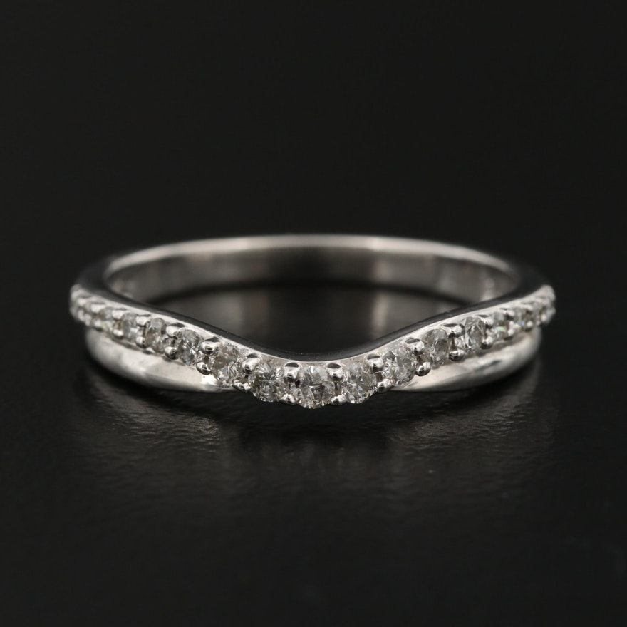 14K Diamond Contoured Band