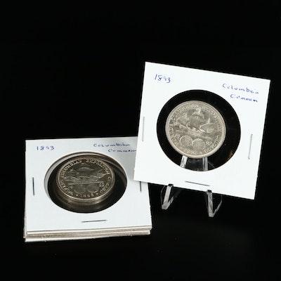 Five 1893 Columbian Exposition Commemorative Silver Half Dollars