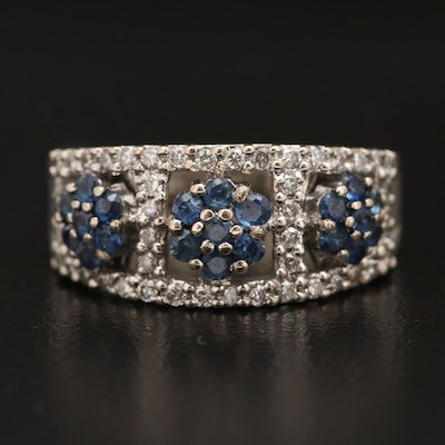 14K Sapphire and Diamond Floral Ring