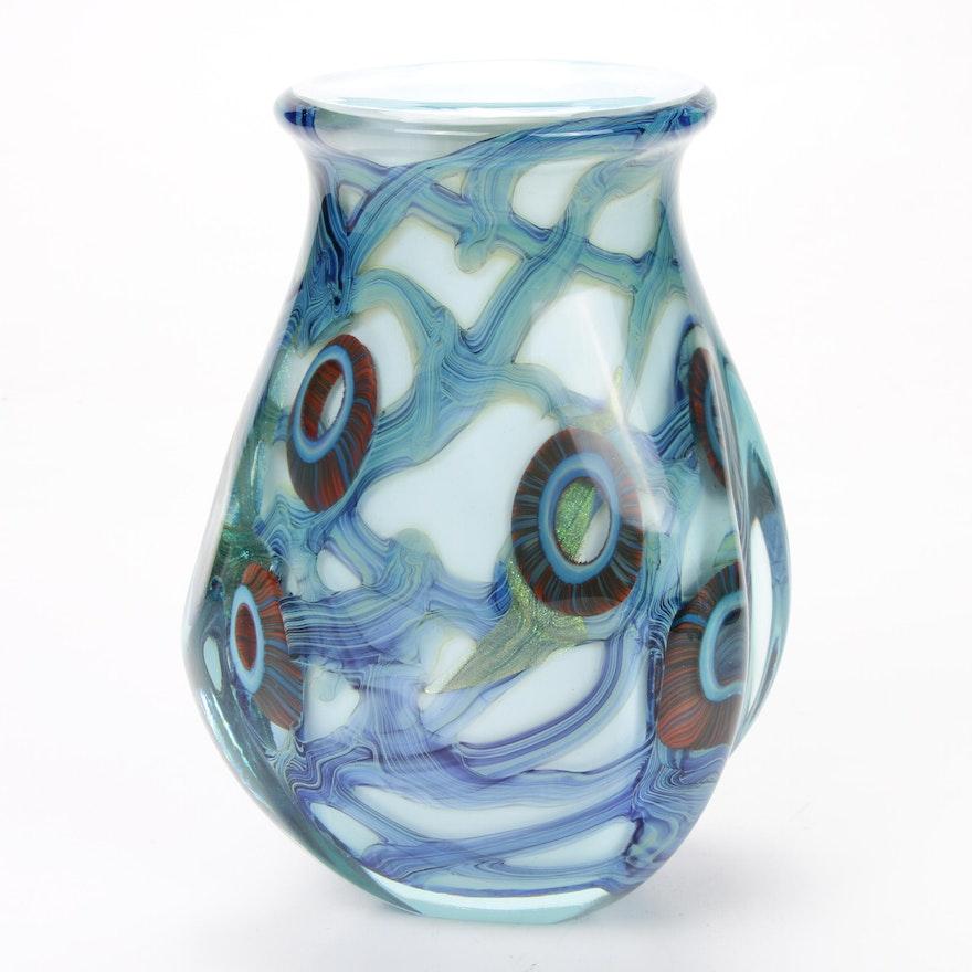 Robert Eickholt Handblown Art Glass Vase, 2010