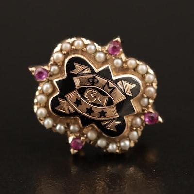 "Circa 1950 ""Phi Mu"" 10K Pearl and Ruby Fraternity Pin"