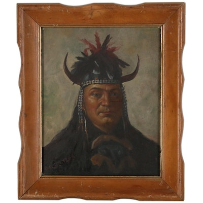 Portrait Oil Painting of Native American in the Style of Olaf Seltzer