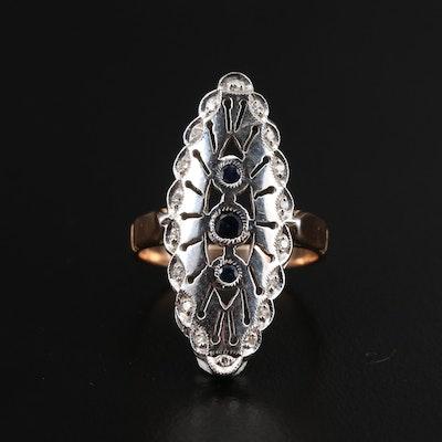 Art Deco 14K Sapphire and Diamond Navette Ring