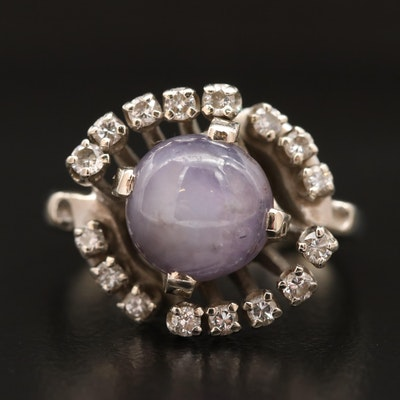 14K 6.51 CT Star Sapphire and Diamond Ring