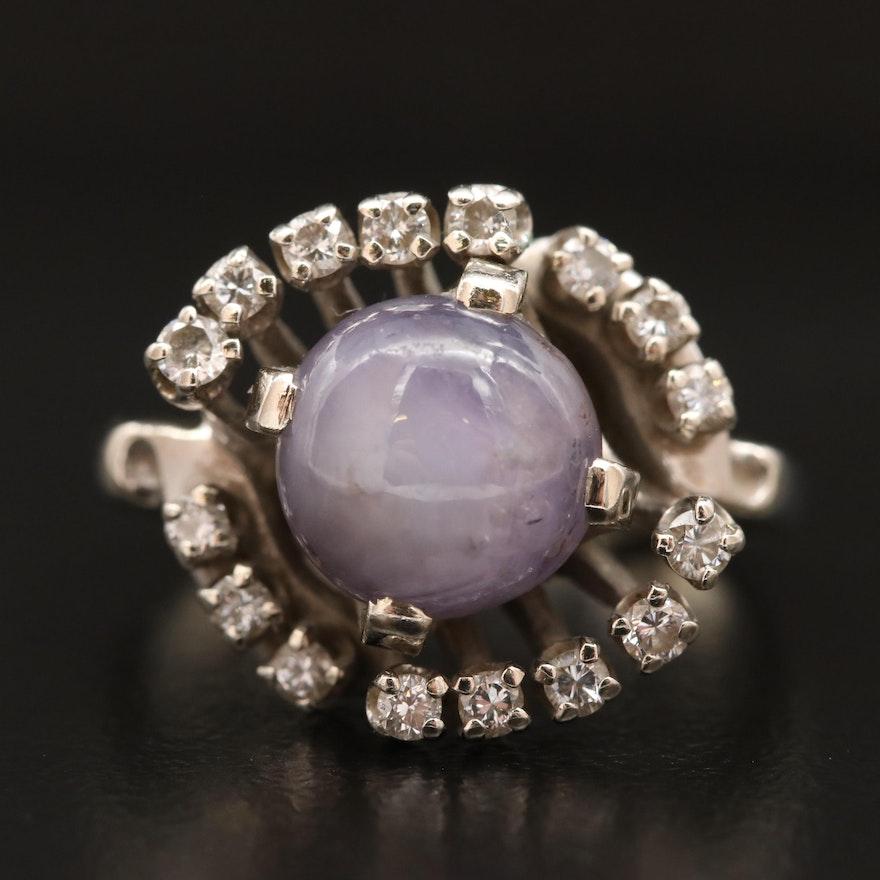 14K 6.51 CT Star Sapphire and Diamond Ring