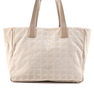 Chanel Beige Jacquard Travel Line Tote