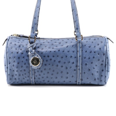 Dooney and Bourke Barrel Bag in Blue Ostrich Embossed Leather