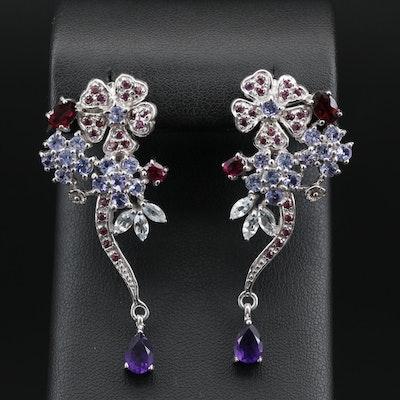 Sterling Silver Amethyst, Tanzanite and Rhodolite Garnet Floral Earrings