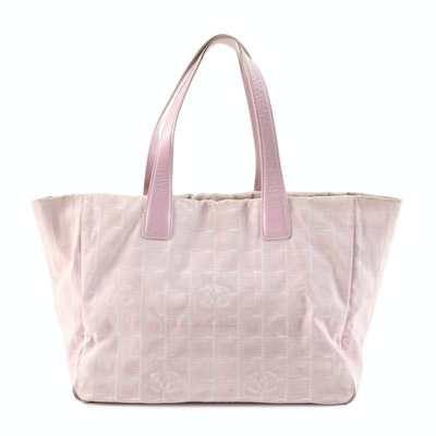 Chanel Pink Jacquard Travel Line Tote