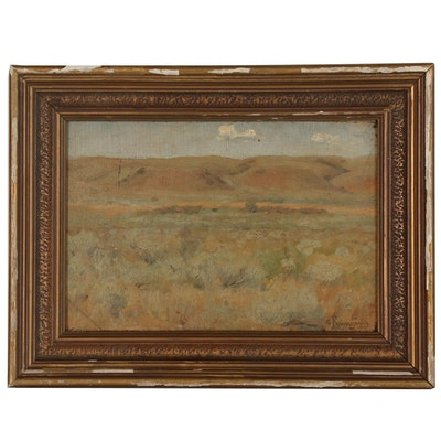 Landscape Oil Painting of Rolling Hills, in the Manner of Carl Rungius