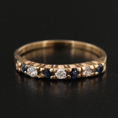 14K Alternating Diamond and Sapphire Band