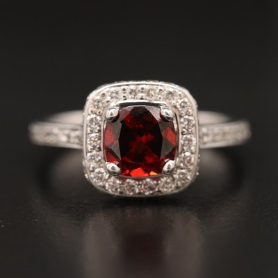 14K Garnet and Diamond Halo Ring