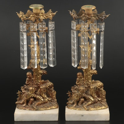 Pair of Victorian Cast Brass and Marble Girandoles with Cut Glass Prisms
