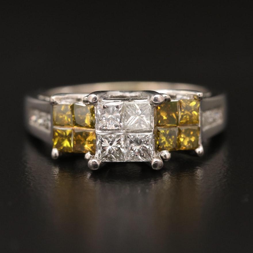 14K 1.55 CTW Invisible Set Diamond Ring