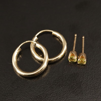 14K Hoop and Peridot Stud Earrings