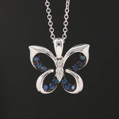 EFFY 14K Diamond and Sapphire Butterfly Pendant Necklace
