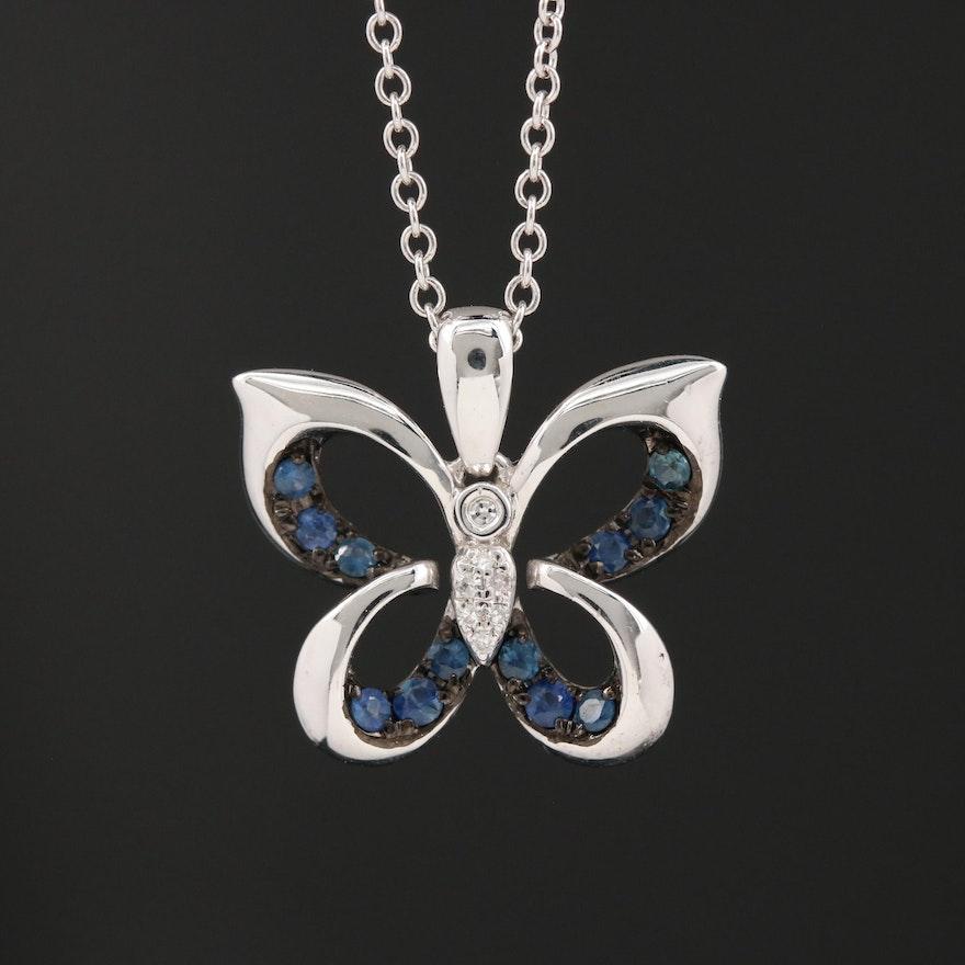 EFFY 14K Diamond and Sapphire Butterfly Pendant Necklace