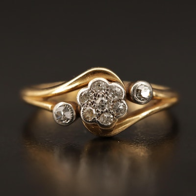 Vintage 18K Diamond Ring with Palladium Accents