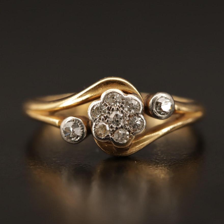 Vintage 18K Diamond Ring with Palladium Accents