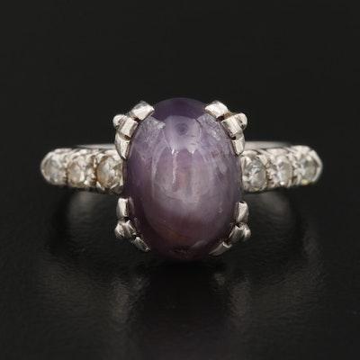 Platinum Star Sapphire and Diamond Ring