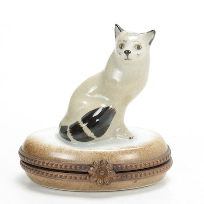 Hand-Painted Porcelain Fox Limoges Box