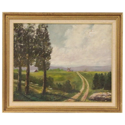 Farm Landscape Oil Painting in the Manner of Joseph Henry Sharp