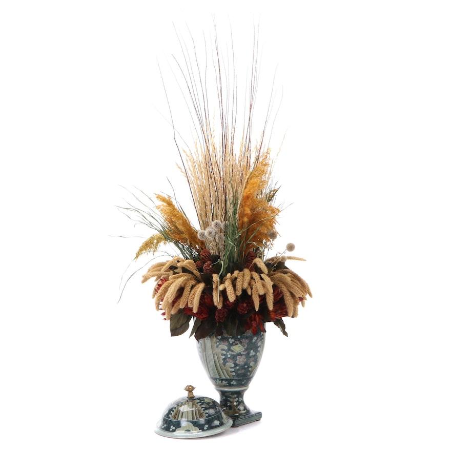 Maitland-Smith Ltd. Ceramic Vase with Faux Flower Arrangement