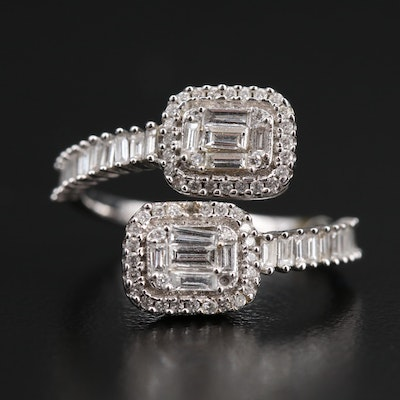 18K Diamond Bypass Ring