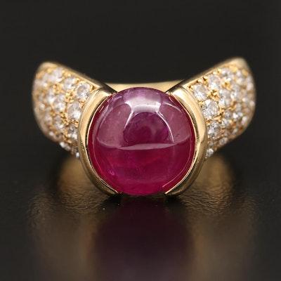 18K 5.96 CT Ruby and Diamond Chevron Style Ring
