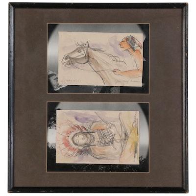 "Graphite and Watercolor Sketches ""Jim Chief Barrows"""