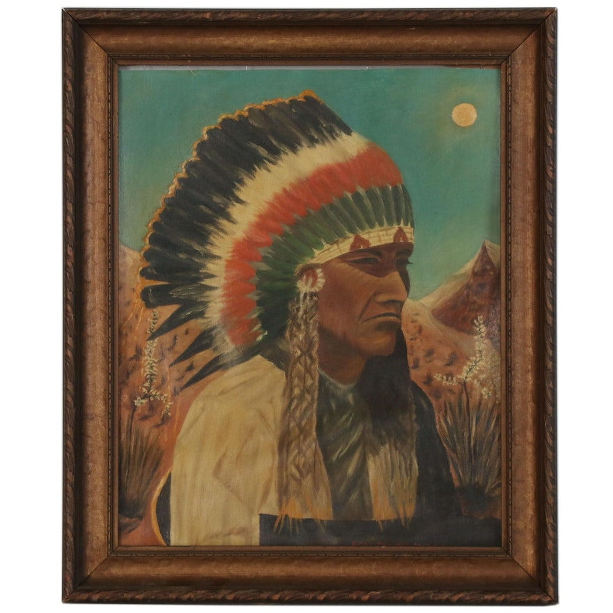 Oil Painting of Native American Chief in the Style of Bert Phillips