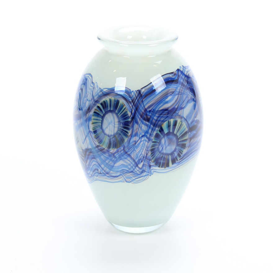 Robert Eickholt Handblown Art Glass Vase, 2010