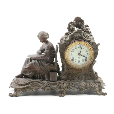Ansonia Figural Woman Reading Metal Mantel Clock, Late 19th/Early 20th Century