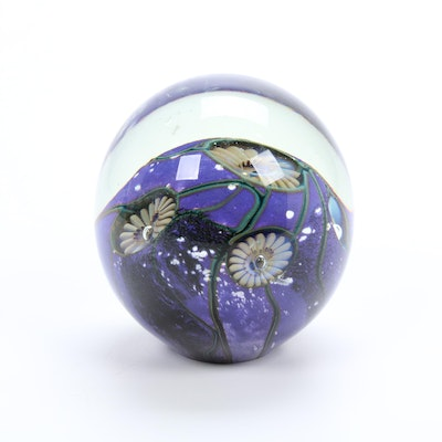 "Robert Eickholt Handblown ""Deep Sea"" Art Glass Paperweight, 2012"