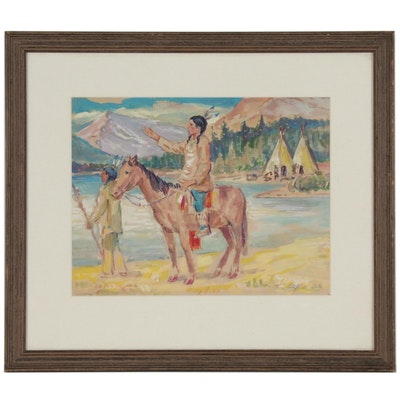 Watercolor Painting of Native Americans in the Style of Oscar Berninghaus