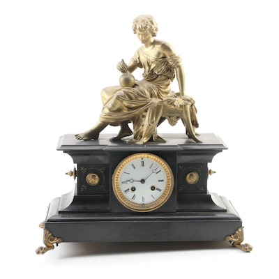 Metal and Gilt Finish Figural Mantel Clock, Late 19th/Early 20th Century