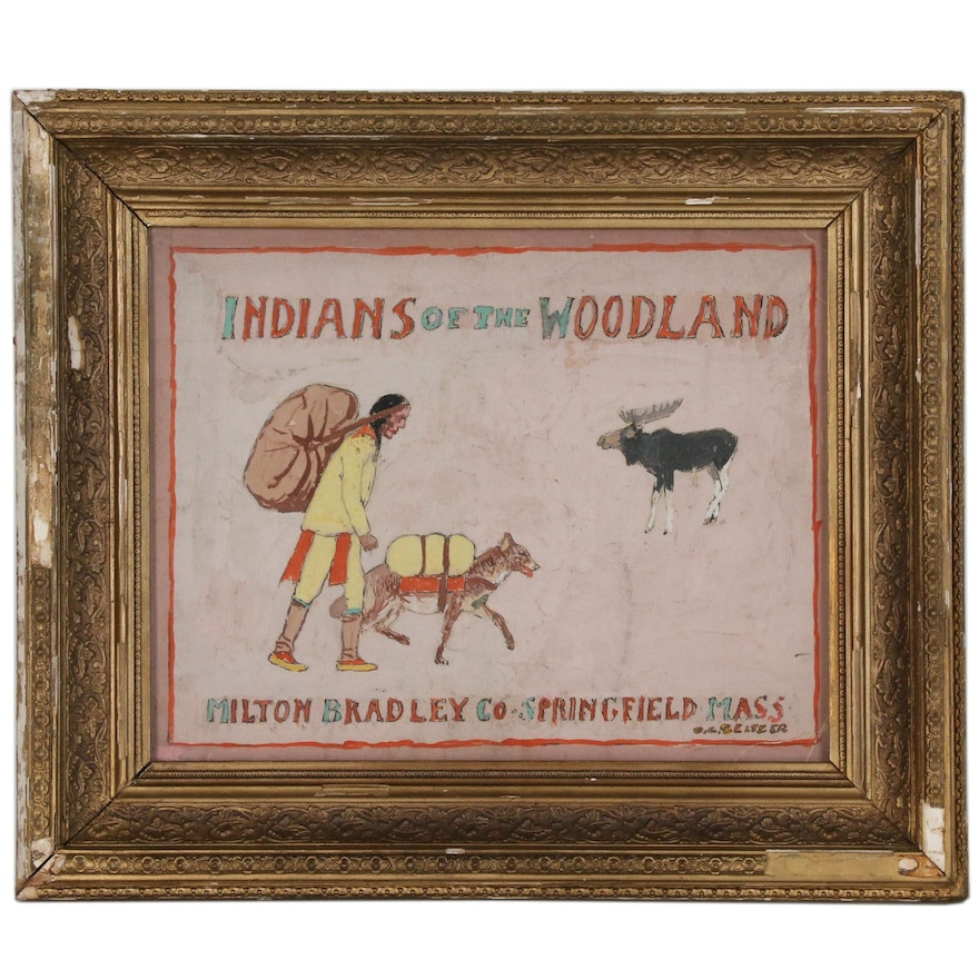 """Gouache Painting after Milton Bradley Board Game Cover """"Indians of the Woodland"""""""
