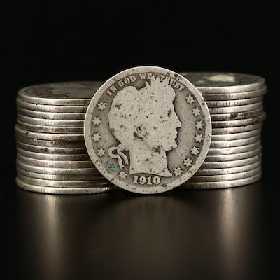 Thirty Circulated Barber Silver Quarters